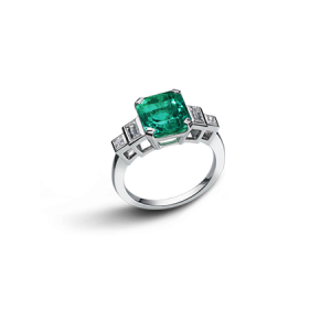 BAGUE ART DECO EMERAUDE