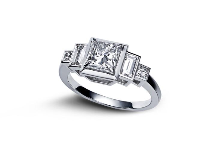 Sehr Bague art deco or blanc diamant princesse XL58